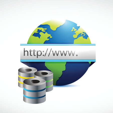 database servers and internet globe illustration design over a white background Vector