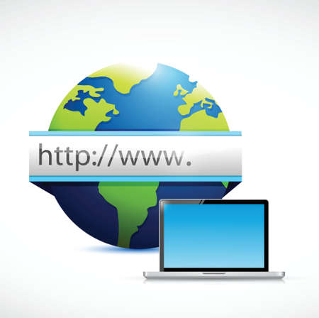 surfing the net: web globe search bar and computer laptop. illustration design over a white background