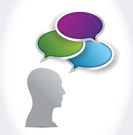 avatar head cloud speech bubbles. illustration design over a white background