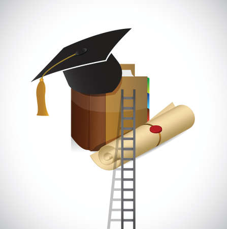 masters degree: ladder to a better education. illustration design over a white background Illustration