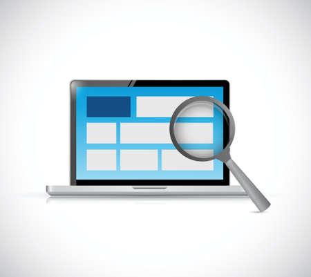 laptop website review. internet concept illustration design over a white background