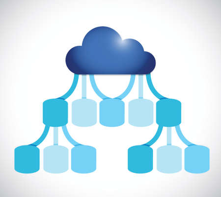 infographics cloud network illustration design over a white background Vector