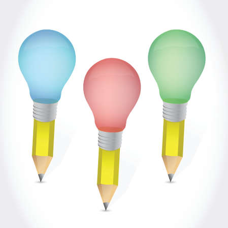 simple line drawing: color pencil light bulbs illustration design over a white background
