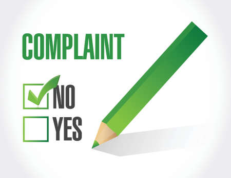 yes or no: no complaints check mark selection. illustration design over a white background