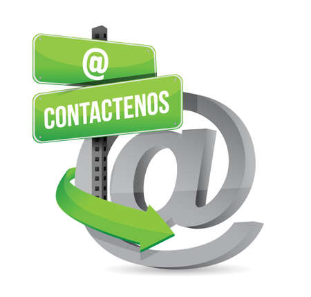 Contact Us At Symbol In Spanish Illustration Design Over A White