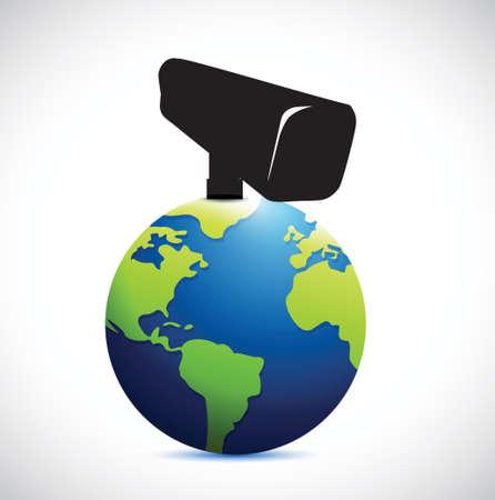 under surveillance: globe under surveillance illustration design over a white background Illustration