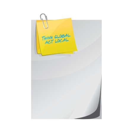 think global act lokale bericht op documenten illustratie ontwerp op een witte achtergrond