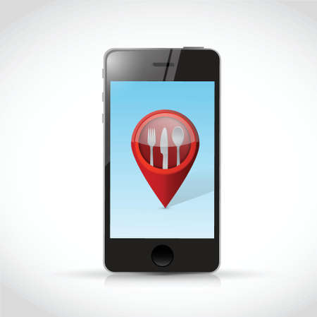 mobile banking: phone and restaurant locator pointer illustration design over a white background