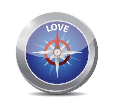compass love destination illustration design over a white background Vector