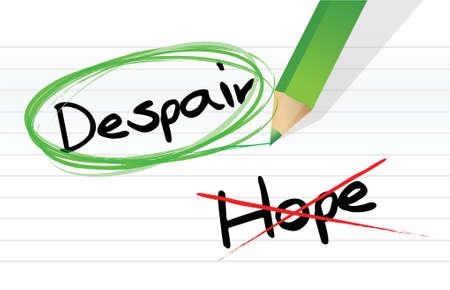 despair over hope selection illustration design over a white background