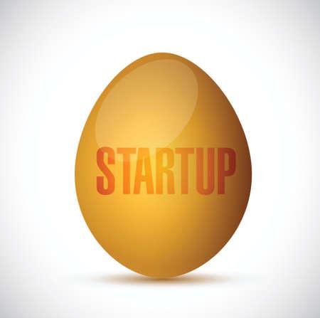 beginnings: startup golden egg illustration design over a white background