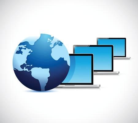 白色の背景上のグローブとコンピューターのラップトップ ネットワーク イラスト デザイン