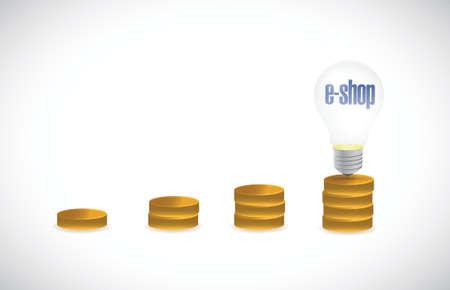 eshop: e-shop gold graph concept illustration design over a white background