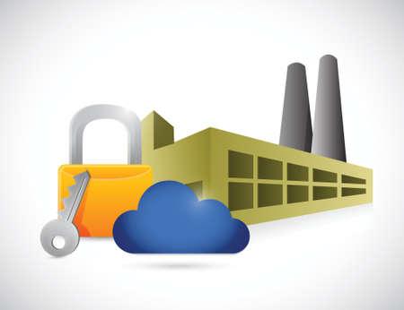 factory lock storage concept illustration design over a white background