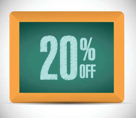 白い背景の上の 20% の割引メッセージ イラスト デザイン