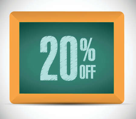20 percent discount message illustration design over a white background Иллюстрация
