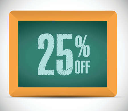 25 percent discount message illustration design over a white background