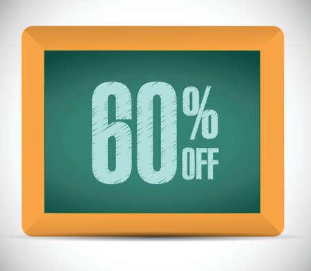 60 percent discount message illustration design over a white background Ilustrace