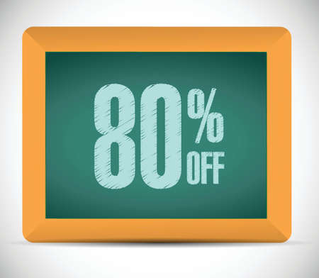 advantageous: 80 percent discount message on a board. illustration design over a white background