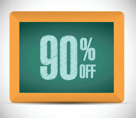 ninety: 90 percent discount message illustration design over a white background