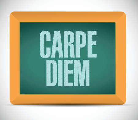 seize: carpe diem sign message blackboard illustration design over a white background Illustration