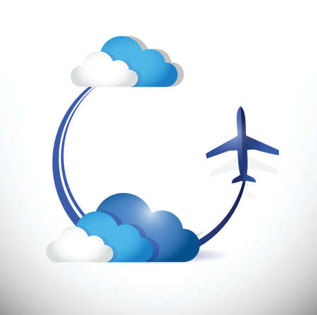 airways: airplane flying path around clouds. illustration design over a white background