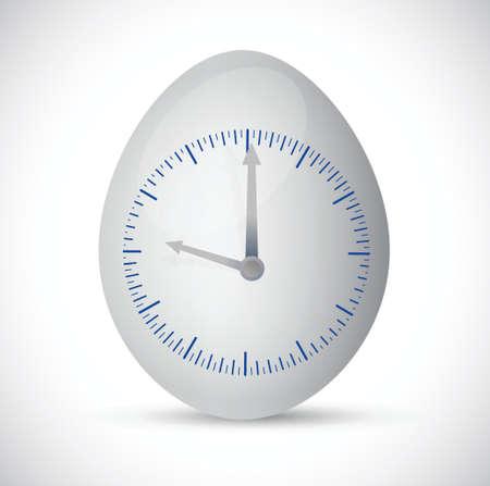 白い背景の上の卵時計イラスト デザイン