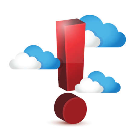 risky: exclamation symbol around clouds. illustration design over a white background