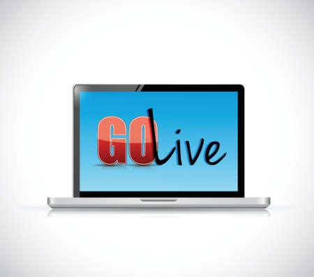 go live-teken op een laptop. illustratie ontwerp op een witte achtergrond Stock Illustratie
