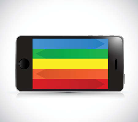 colorful phone. rainbow screen. illustration design over a white background Vector