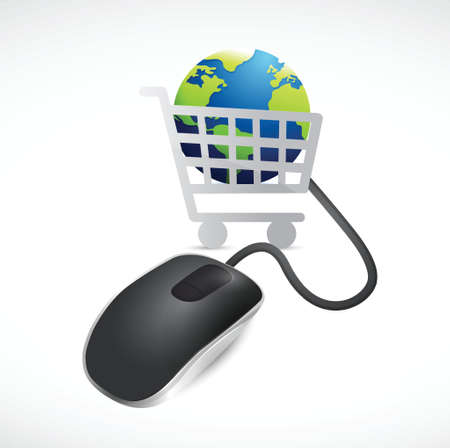 add to basket: shopping cart globe and mouse. illustration design over a white background