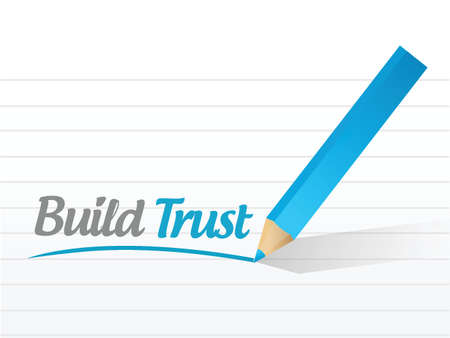build trust message illustration design over a white background