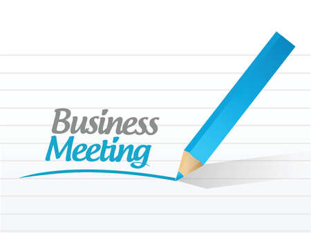 business meeting message sign illustration design over a white background Vector