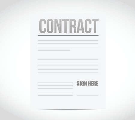 ratificaci�n: Firme aqu� contrato papel ilustraci�n dise�o sobre un fondo blanco