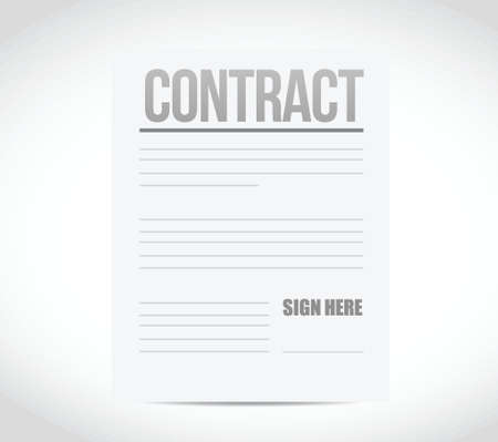 of ratification: sign here contract paper illustration design over a white background