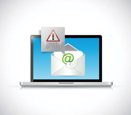 spam mail: laptop receiving spam mail. email illustration design over a white background Illustration