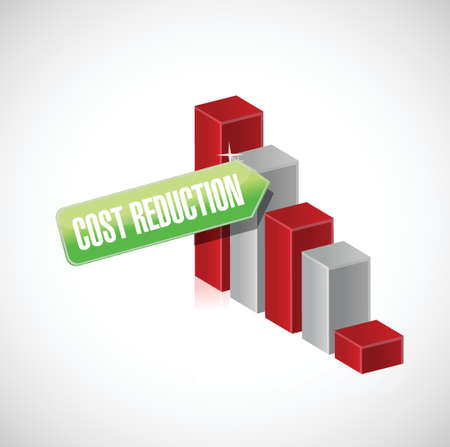 cost reduction: cost reduction business graph illustration design over a white background