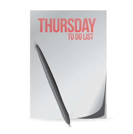 thursday: thursday to do list paper and pen. illustration design over a white background