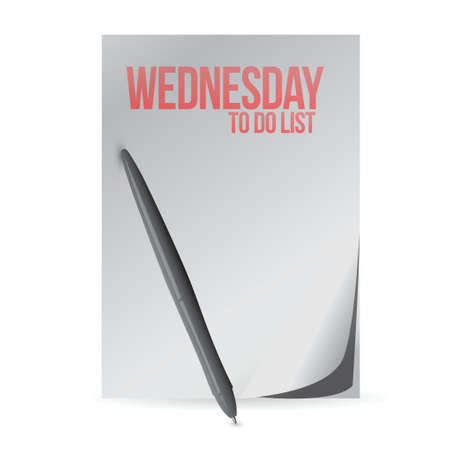 wednesday to do list paper and pen. illustration design over a white background