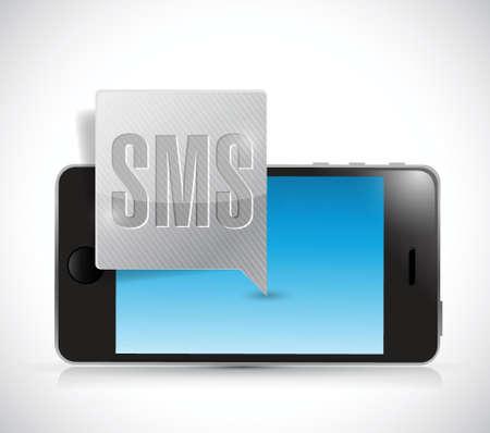 send sms: new sms and smartphone illustration design over a white background Illustration