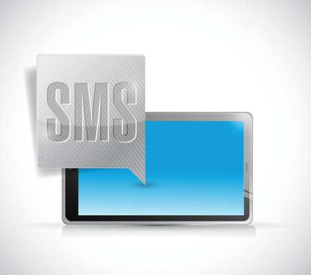 conection: recepci�n de sms en un dise�o de la ilustraci�n de Tablet PC en un fondo blanco