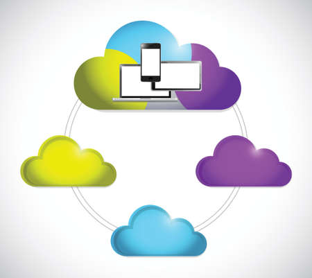 somewhere: cloud computing electronics connection illustration design over a white background