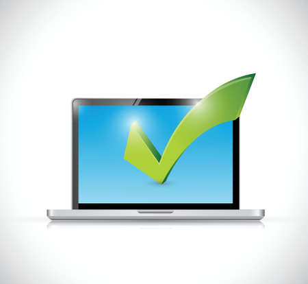 touchpad: laptop and checkmark illustration design over a white background