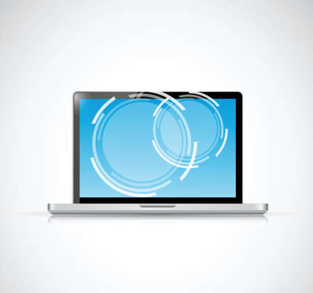 electronic guide: laptop touchscreen illustration design over a white background Illustration