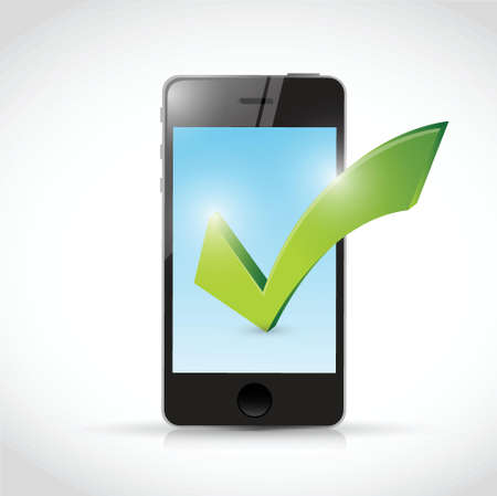 old phone: phone and check mark illustration design over a white background