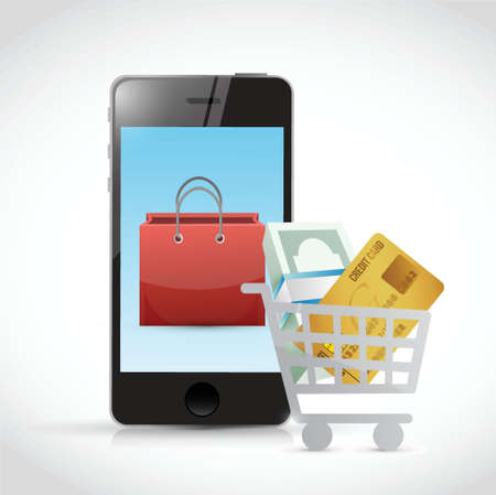 mobile banking: shopping concept and phone illustration design over a white background