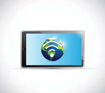 tablet globe and wifi signal illustration design over a white background Vector