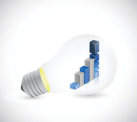 business graph inside a light bulb. illustration design over a white background