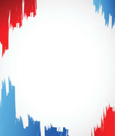 red, white and blue ink illustration design over a white background
