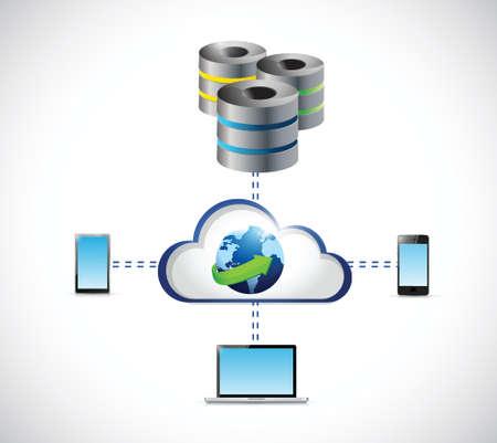 database servers network connection illustration design over a white background